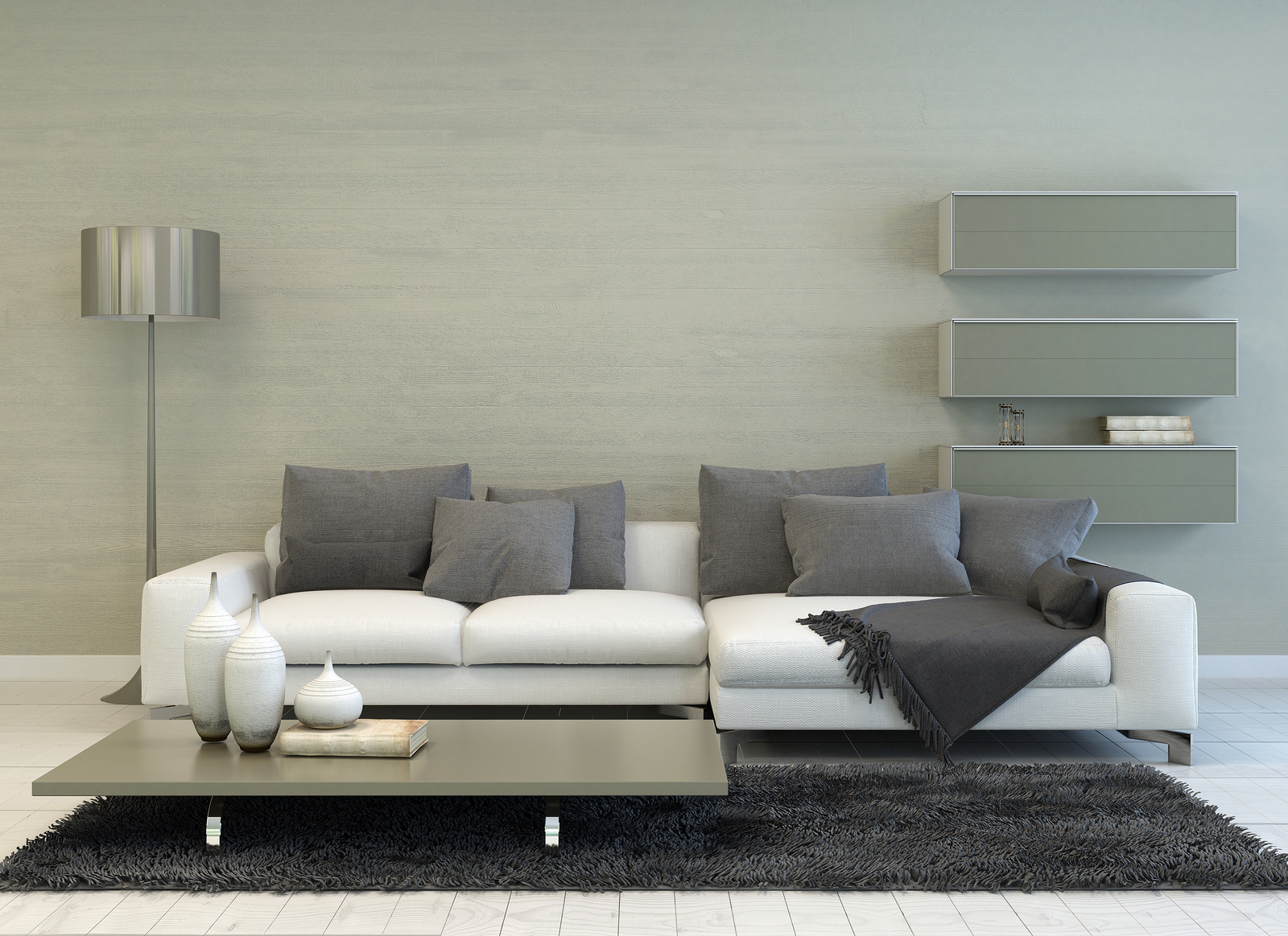 The Silver Touch 3D Rendering Of Modern Grey And White Living Room With Floor Lam